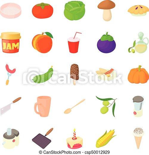 Boil icons set, cartoon style - csp50012929