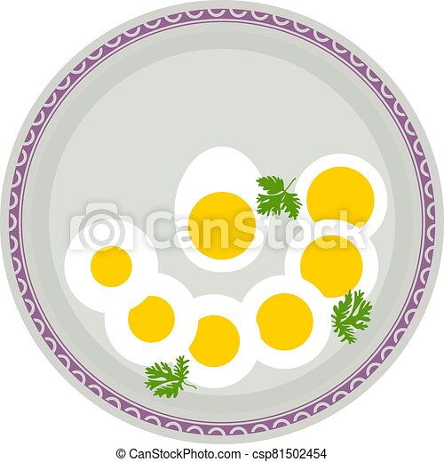 Boiled Eggs In Plate - csp81502454