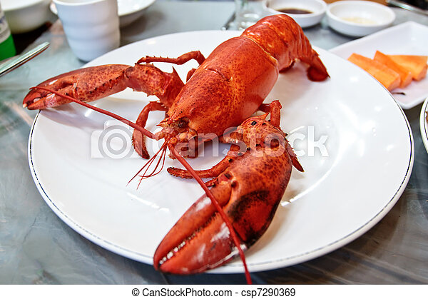 Boiled lobster on a plate - csp7290369