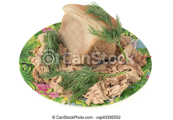 Boiled pork on a plate with dill. - csp43392552