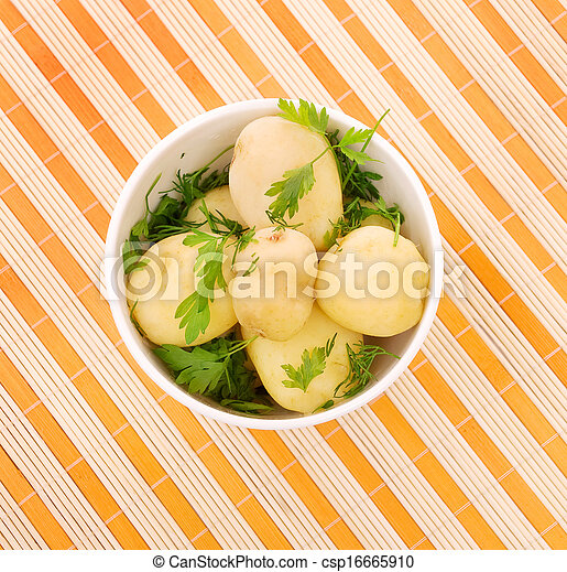 Boiled potatoes with parsley - csp16665910