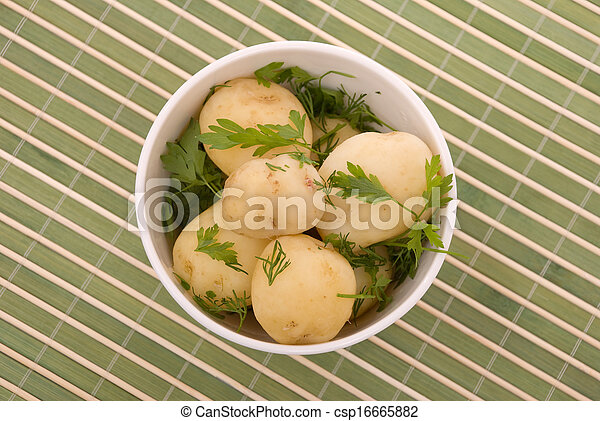Boiled potatoes with parsley - csp16665882