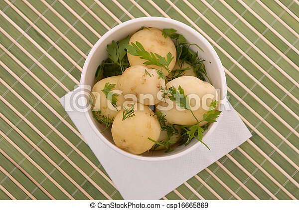Boiled potatoes with parsley - csp16665869