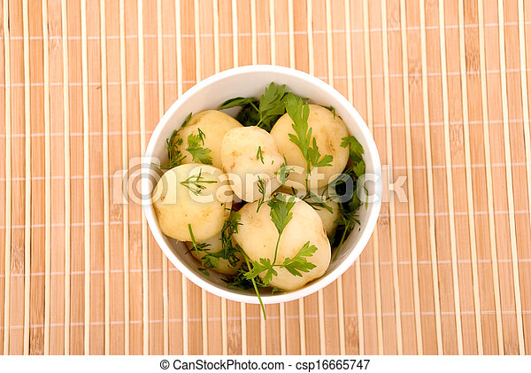Boiled potatoes with parsley - csp16665747