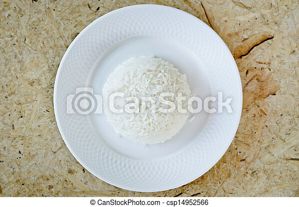 boiled rice on a white plate - csp14952566