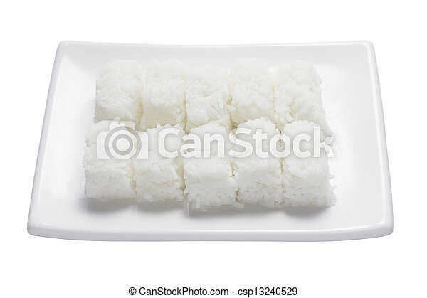 Boiled Rice on Plate - csp13240529