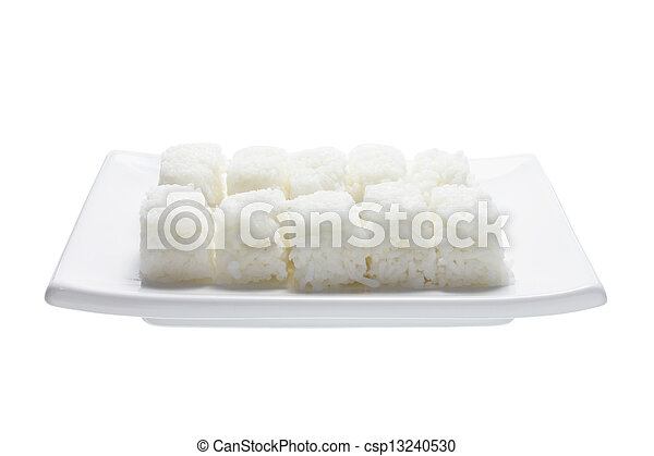 Boiled Rice on Plate - csp13240530