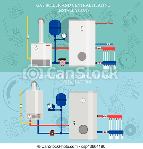 Boiler and central heating installations, flat heating concept ...