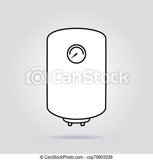 Boiler flat icon water heater vector on gray background - csp79903336