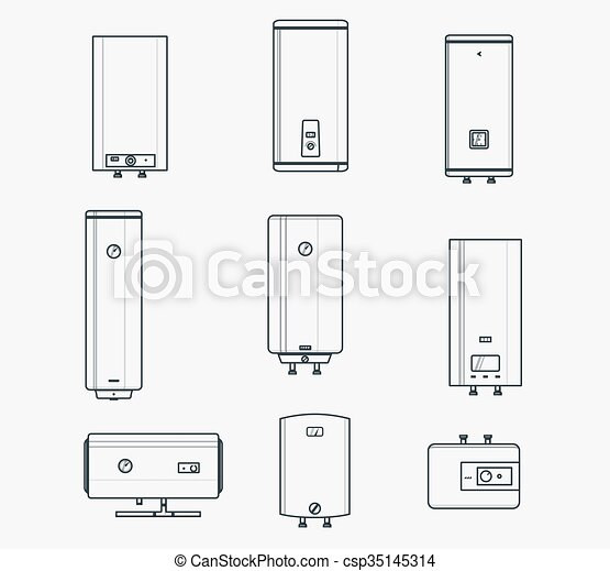 Boiler liner icons. Liner icons set of boilers. modern and classic ...