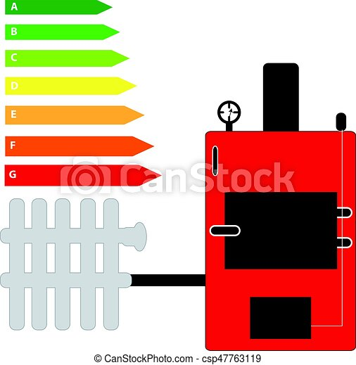 Boiler with energy labels isolated on white background. vector ...