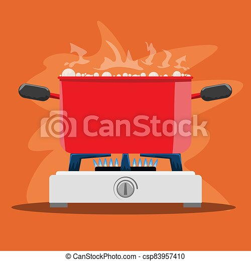 Boiling Cooking pot on gas stove. Flat and solid color vector illustration. - csp83957410