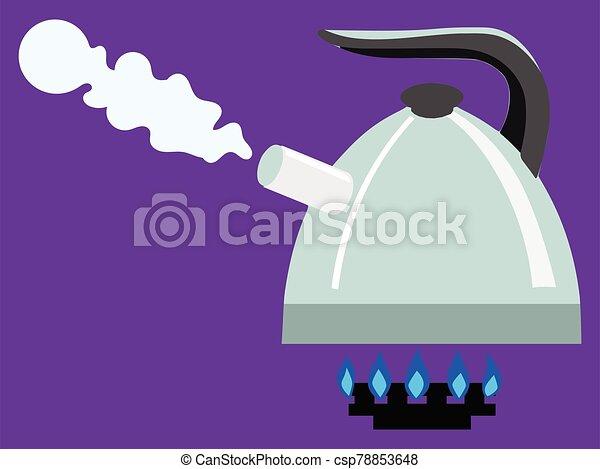 Boiling kettle on gas burner - csp78853648