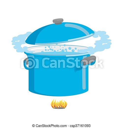 Boiling pot of water. Cookware for cooking - csp37161093