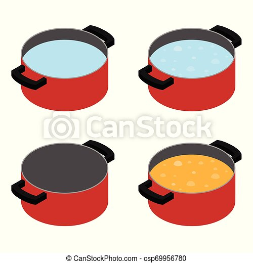 Boiling soup in cooking pot - csp69956780