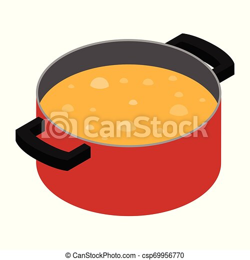 Boiling soup in cooking pot - csp69956770