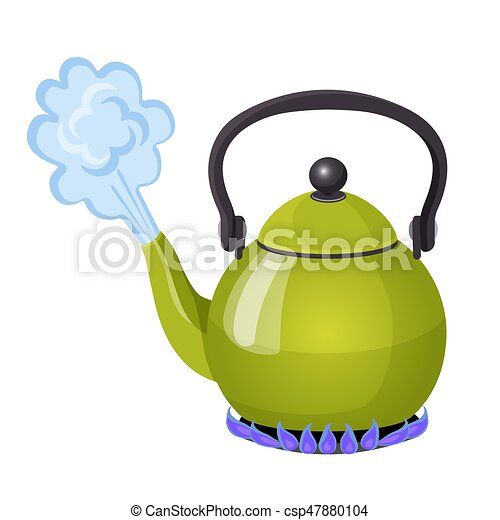 Boiling water in aluminium kettle on gas flame realistic vector illustration - csp47880104