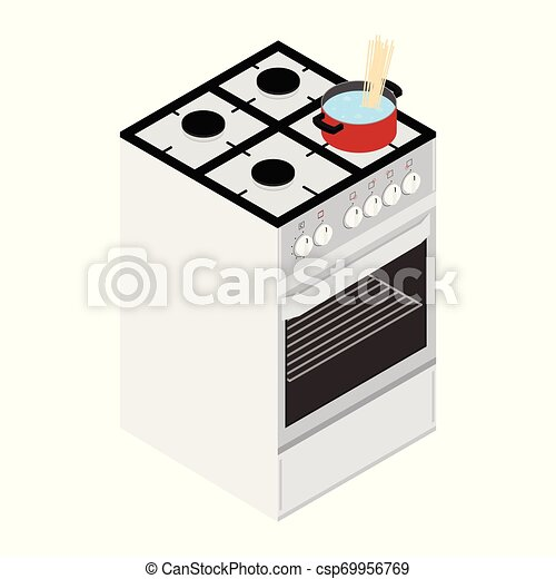 Boiling water in cooking pot on gas stove, ove - csp69956769