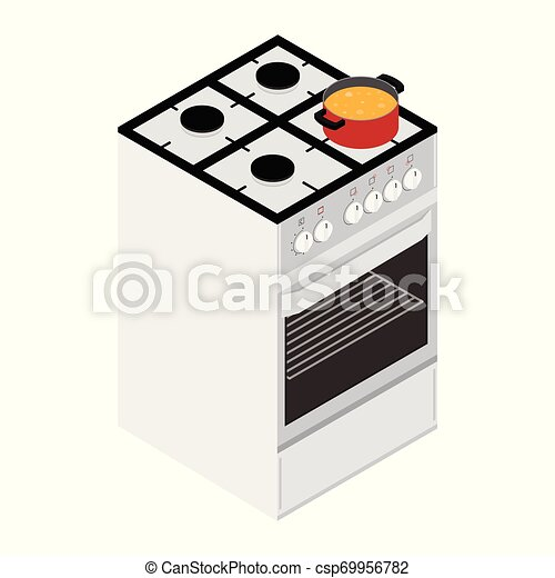 Boiling water in cooking pot on gas stove, ove - csp69956782
