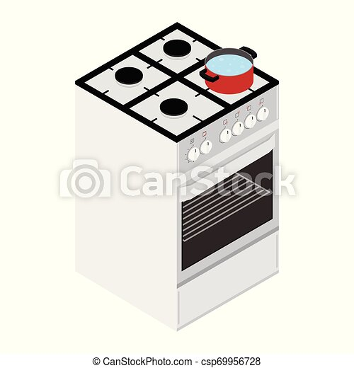 Boiling water in cooking pot on gas stove, ove - csp69956728