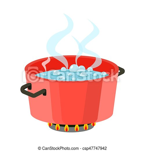 Boiling water in pan Red cooking pot on stove with water and steam Flat design vector - csp47747942