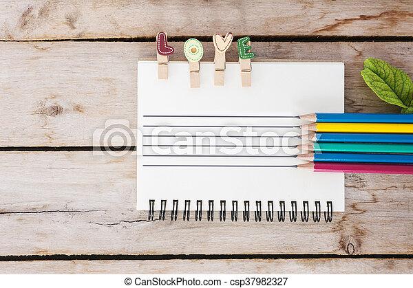 bois, amour, valentine, vendange, multicolore, livre, fond, texte, jour, crayon - csp37982327