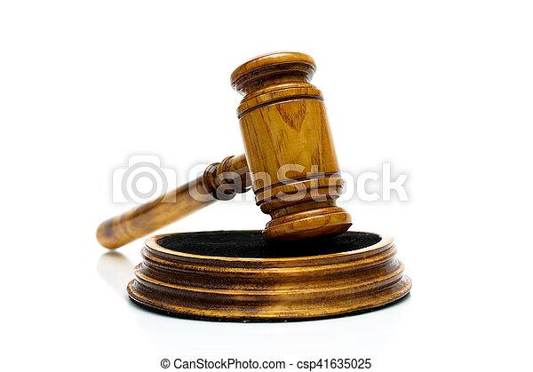 bois, arrière-plan., juge, marteau, blanc - csp41635025