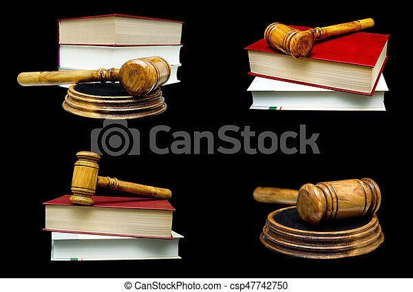 bois, arrière-plan., livre, noir, juge, marteau - csp47742750