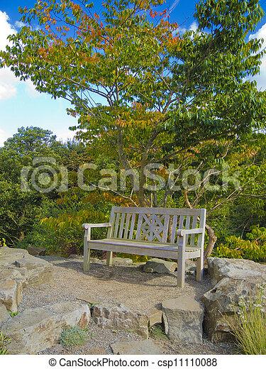 bois, automne, banc jardin - csp11110088