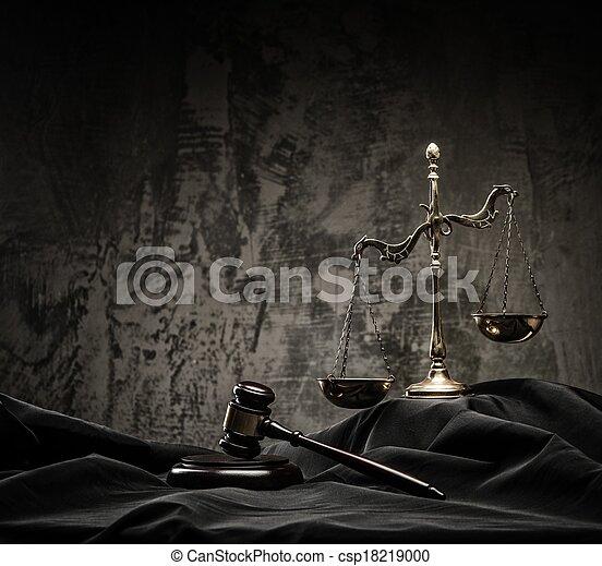 bois, balances, juge, marteau, manteau - csp18219000