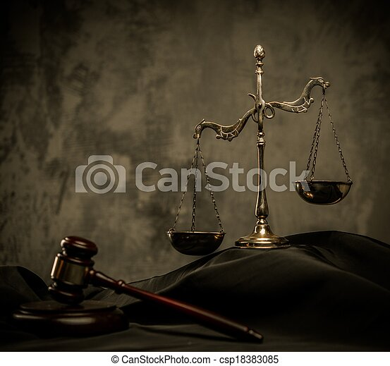 bois, balances, juge, marteau, manteau - csp18383085