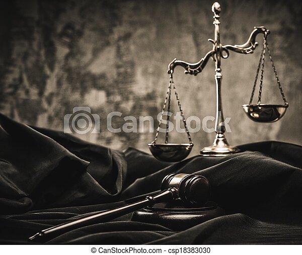 bois, balances, juge, marteau, manteau - csp18383030
