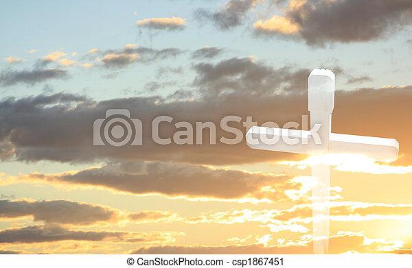 bois, blanc, coucher soleil, croix - csp1867451