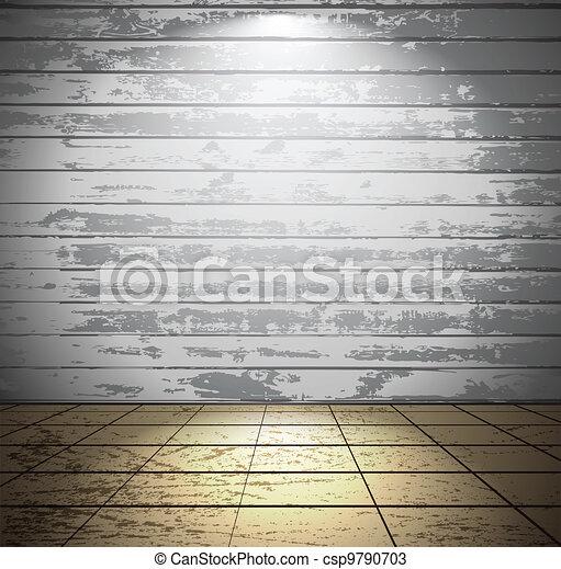 bois, blanche salle, plancher carrelé - csp9790703