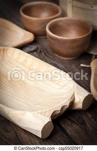 bois, brun, table., vieux, ustensiles - csp55020917