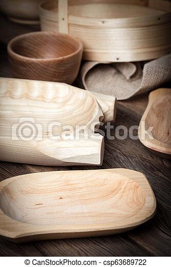 bois, brun, table., vieux, ustensiles - csp63689722