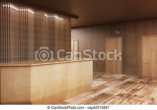 Bois côté bureau réception. brun bois interior. rendre bureau