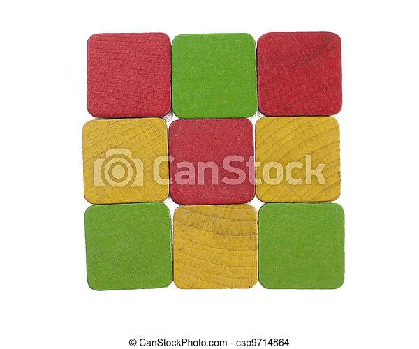 bois, carrée, cubes - csp9714864