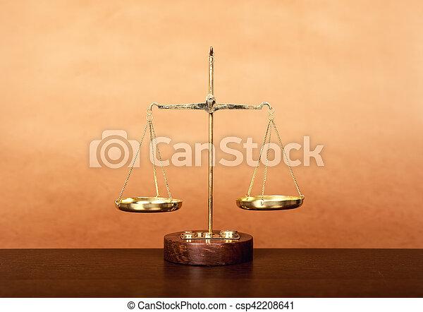 bois, concept, table, droit & loi, balances - csp42208641