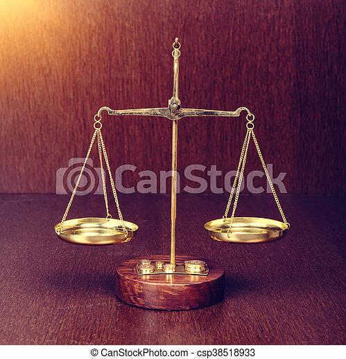 bois, concept, table, droit & loi, balances - csp38518933