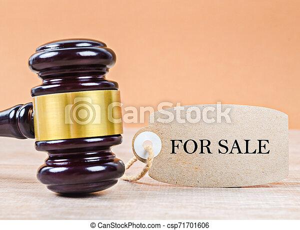 bois, concept., vente, enchère, papier, marteau, tag. - csp71701606