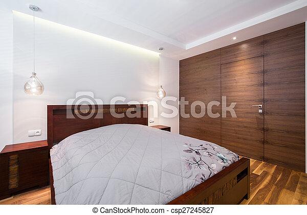 bois, confortable, chambre à coucher - csp27245827