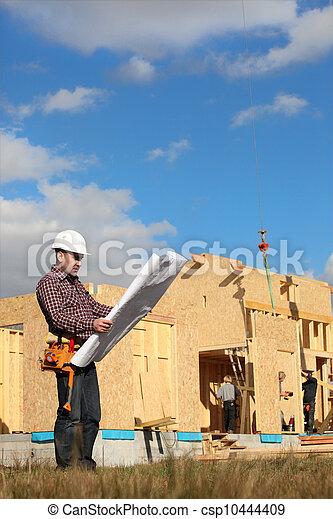 bois, contremaître, construction, négligence, maison - csp10444409