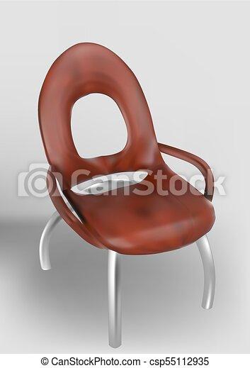 bois, courbé, jambes chaise - csp55112935