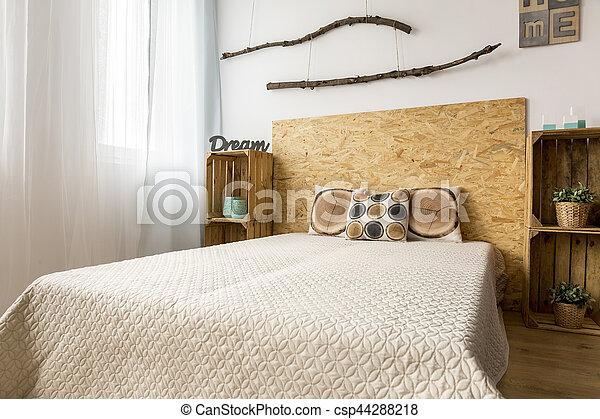 bois, décoration, beige, chambre à coucher