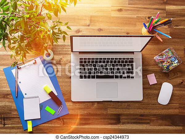 bois, desk., lieu travail, bureau - csp24344973