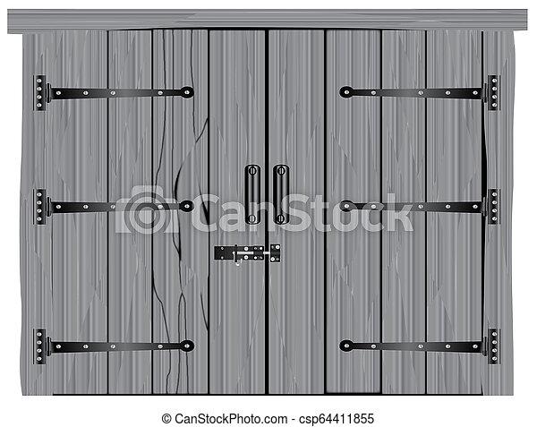bois dur, vieux, porte, grange - csp64411855