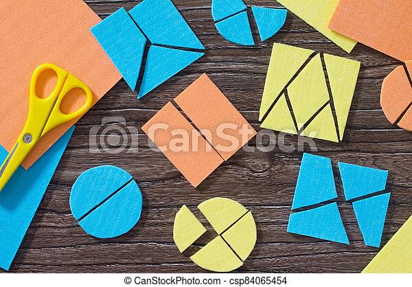 bois, enfance, fractions, étude, carrée, puzzle, rassembler, tôt, mathématique, table., concept, development. - csp84065454
