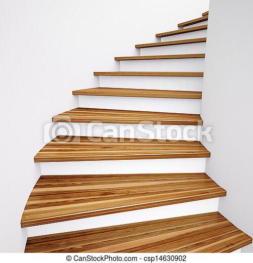 Bois escalier bois mener haut mur blanc escalier for Tarif escalier bois