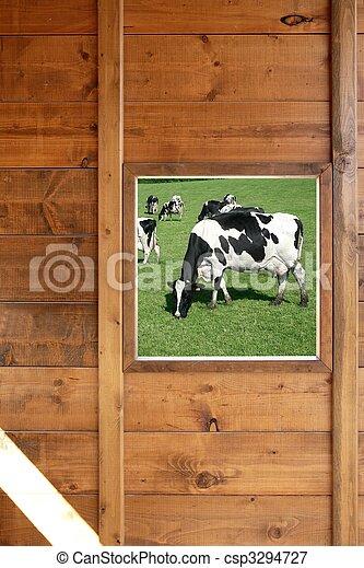 bois, fenêtre, pré, vache, vue - csp3294727